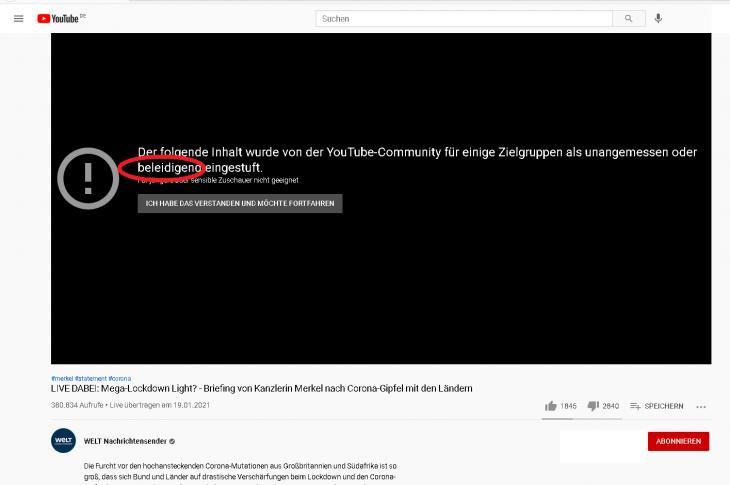 """War Merkel gestern """"beleidigend""""? Oder ist Youtube selbst """"beleidigend"""" mit irreführenden Sperr-Meldungen?"""