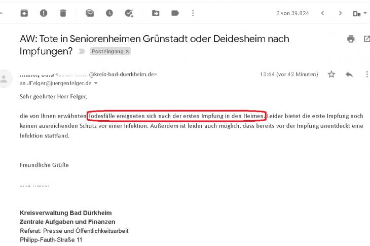 Auch in Bad Dürkheim: Tote nach Impfung nach WIM-Anfrage bestätigt. Vertuschungen und Täuschungen. Es muss Strafanzeigen hageln!