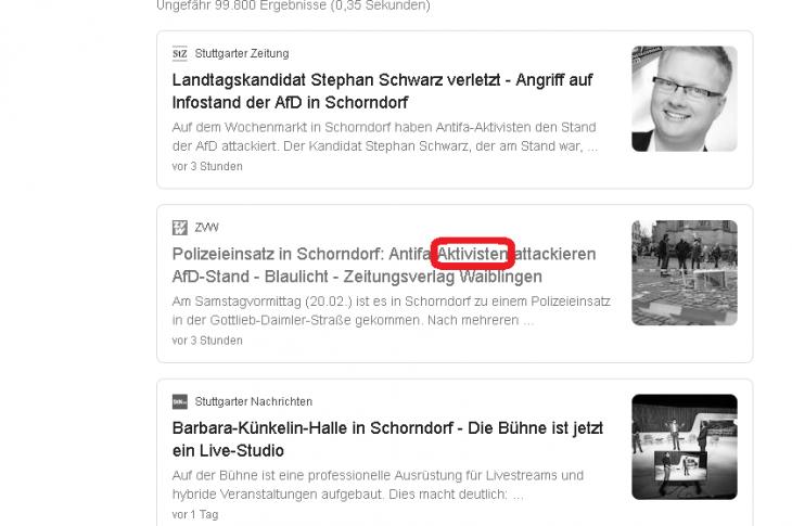 """""""Aktivisten"""" liefern sich mit AfD-Abgeordneten angeblich """"Schlägerei"""". ARD-ZDF vertuscht schwere Körperverletzungen in Schorndorf"""