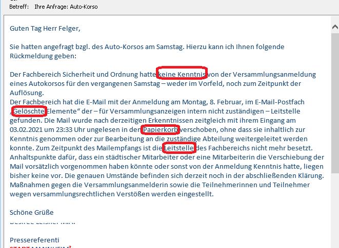 """Auto-Korso-Affaire Mannheim. Anmeldung wurde von Stadt """"gelöscht"""". Und auch trotz Anruf """"keine Kenntnis"""""""