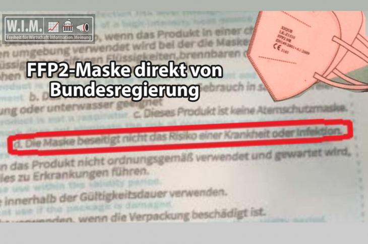 """FFP2-Maske direkt von Bundersregierung """"beseitigt nicht das Risiko einer Krankheit oder Infektion"""""""