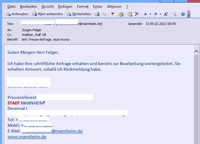 Mannheim. WIM-Presseanfrage wandert von Leitung zu Referentin und wohin genau Anmeldung Auto-Korso 6.2.2021