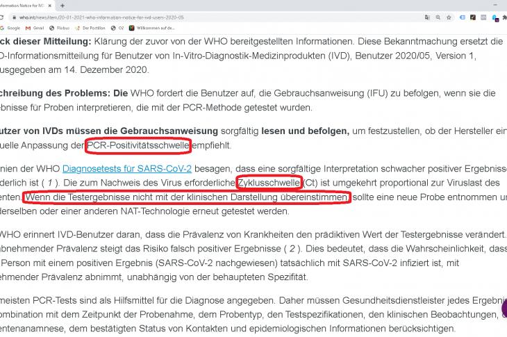WHO fordert Sorgfalt bei Positivitätsschwelle: PCR-Test allein keine Diagnose, wenn ohne Symptome