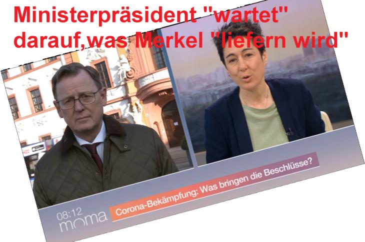 Merkel zieht Oster-Order zurück, nachdem Ramelow auf Druck aus Bevölkerung Schweigen bricht. Föderalismus-Simulation