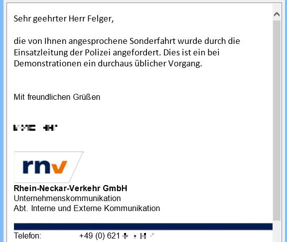 Rhein-Neckar-Verkehr gibt Sonderfahrt für Palästinenser-Demo zu. Angefordert durch Einsatzleitung der Polizei
