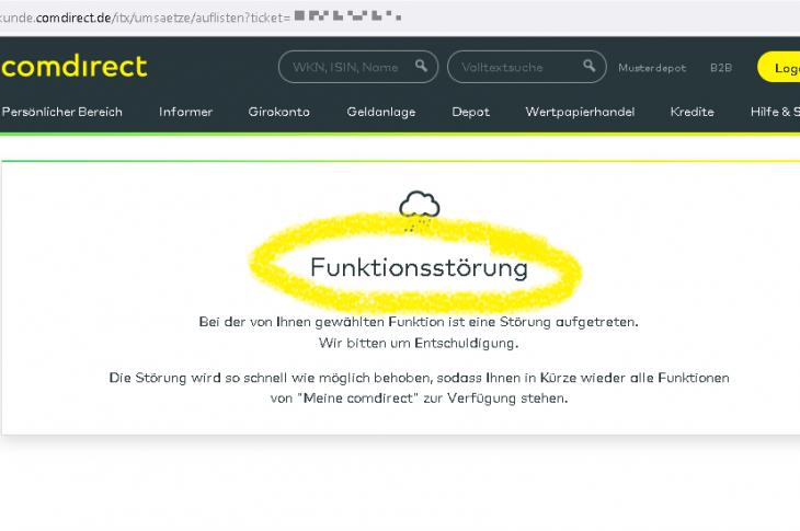 Wiederholte Funktionsstörung bei comdirect Bank.