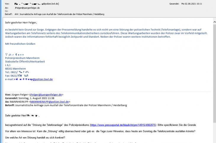 Mangelnde Erreichbarkeit der Polizei MannheimHeidelberg am 1.8.2021, ...jedenfalls für den einfachen Bürger