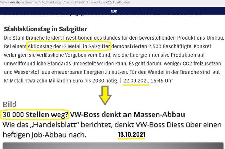 IG-Metall forderte Produktions-Umbau fürs Klima. 30.000 Stellen jetzt endlich weg bei VW?