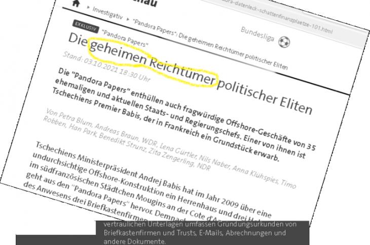 """Recherche-Coup """"Geheime Reichtümer"""" von Politikern? Riesige Anzahl Journalisten weiß, aber hält 34 Namen der Pandora Papers zurück?"""